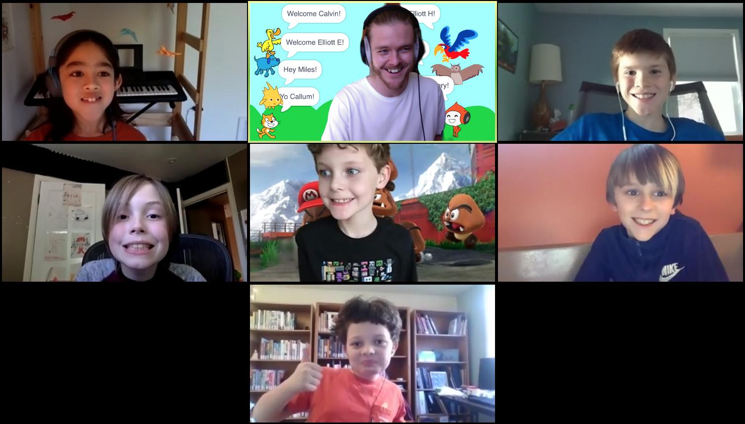 Kids make friends in Creative Coding club.